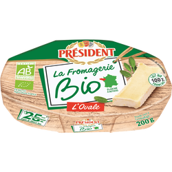 Fromage pasteurisé ovale PRESIDENT Bio  25%MG  200g