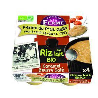 Riz au lait BIO au lait frais de vaches, caramel au beurre salé, FERME D'ANA-SOIZ, 4 pots de 125g