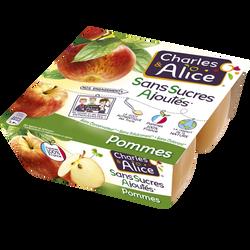 Dessert de fruits pommes sans sucre ajouté CHARLES & ALICE, 4x100g