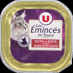 Les emincés pour chat au boeuf et haricots verts U, barquette de 100g