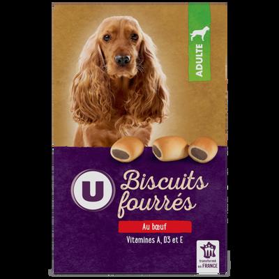 Biscuits fourrés pour chien au boeuf U, boîte de 500g