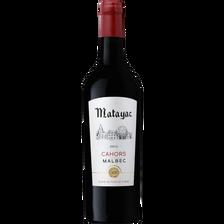 Vin rouge AOP Cahors Malbec Matayac élevé en fût de chêne, bouteille de 75cl