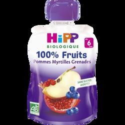 Gourde pommes myrtilles grenades BIO HIPP, dès 6 mois, 90g