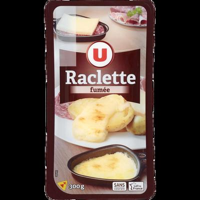 Fromage pour raclette au lait pasteurisé aromatisé fumé U, 28% de MG,300g