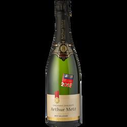 Vin blanc pétillant Crémant d'Alsace brut millésimé ARTHUR METZ, bouteille de 75cl