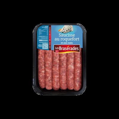 Saucisse roquefort/noix, LES BRASERADES, barquette, 300g