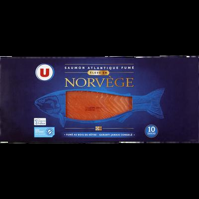 Saumon Atlantique Norvège fumé U, plateau de 10 tranches, 375g
