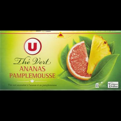 Thé vert ananas pamplemousse U, boîte de 25 sachets, 50g