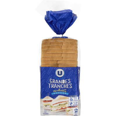 Pain de mie sandwich nature U, 825g