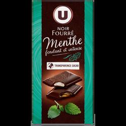 Chocolat noir fourré bi texture menthe U, tablette de 130g