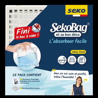 Sachet absorbeur SEKOBAG avec box blanche, 150g, sans bac à vider, 2 fois plus de pouvoir absorbant