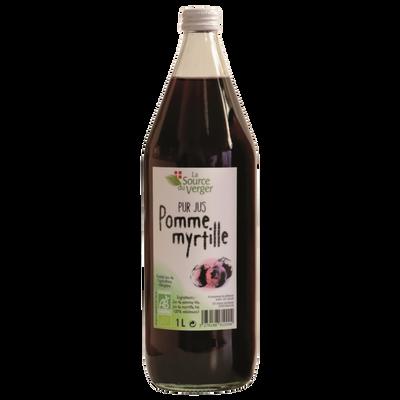 Jus de pomme myrtille bio LA SOURCE DU VERGER, bouteille 1l