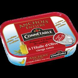 Anchois entiers à l'huile d'olive CONNETABLE, 100g