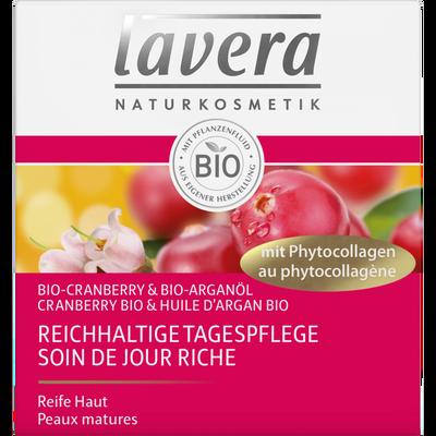 Soin de jour riche à la cranberry et à l'huile d'argan bio LAVERA, pot50ml