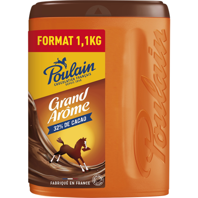 Chocolat en poudre grand arôme POULAIN, boîte de 1,1kg