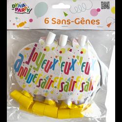 Sans genes joyeux anniversaire FUN, 6 unités
