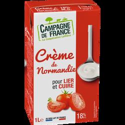 Crème de normandie UHT CAMPAGNE DE FRANCE, 18% de MG, brique 1L