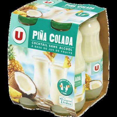 Cocktail sans alcool à base de jus de fruits Piña colada U, 4 bouteilles en verre de 20cl