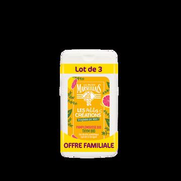 Le Petit Marseillais Gel Douche Les Petites Creations Pamplemousse Et Thym Bio Le Petitmarseillais Format Familial 3x250 Ml