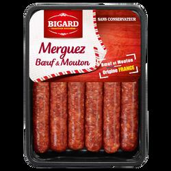 Merguez (boeuf/mouton), BIGARD, 6 pièces, barquette, 330g