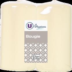 Bougies U MAISON, non parfumée, 48/90mm, ivoire, 2 unités