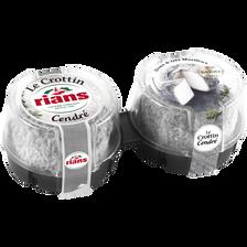 Rians Crottin Cendré Lait De Chèvre Pasteurisé , 22% De Mg, 2x60g