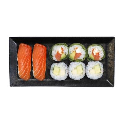 3 cristal saumon fromage,3 maki concombre,2 sushi saumon