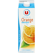 Pur jus d'orange sans pulpe U, brique de 1l