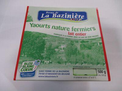 yaourts fermiers natures,BLEU BLANC COEUR, au lait entier de vache,La Bazinière, pot 4x125g