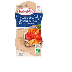 Aliment pour bébés - PATATE DOUCE LÉGUMES DU SOLEIL RIZ DE CAMARGUE - BIO - BABYBIO - 8 mois et + - 2x200g