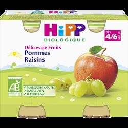 """Compote infantile bio """"Délices de Fruits"""" pomme raisins HIPP, dès 4 mois, 2x190g"""