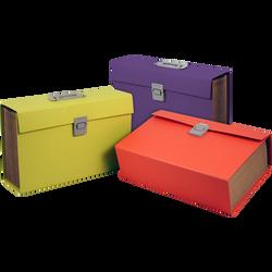 Trieur ménager multi compartiments, en carton, 34,7x13x25cm, poignée de transport, coloris assortis