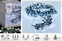 Guirlande grappe 700 microleds blanc froid-partie lumineuse 14m-led 5mm-fil conducteur 3cm-2cm entre led-8 fonctions avec mémoire-adaptateurip44-fil vert-usage intérieur/extérieur