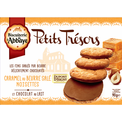Petits trésors noisettes caramel au beurre salé BISCUIETRIE DE L'ABBAYE, étui de 90g