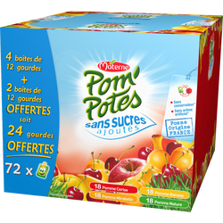 Pom'Potes sans sucres ajoutés pomme mirabelle cerise banane MATERNE, 12X90G) + 24 offerts