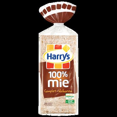 Pain de mie complet sans croûte 100% Mie HARRYS, paquet de 500g