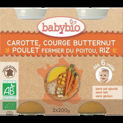 Carotte Courge butternut Poulet fermier du Poitou Riz BABYBIO, dès 6 mois, 2x200g