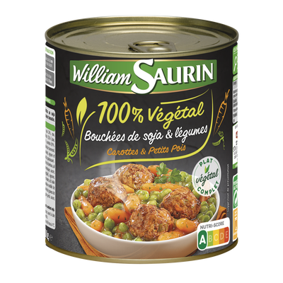 Bouchées de soja et légumes 100% végétal WILLIAM SAURIN, boîte de 800g