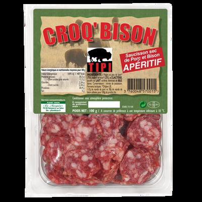 Saucisson sec de porc et bison en tranches CROQ'BISON, 100g