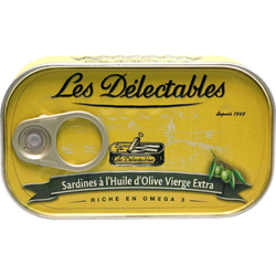 Sardines huile d'olive vierge extra LES DELECTABLES, 125g