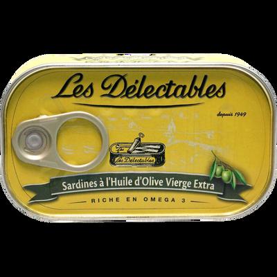 Sardines huile d'olive vierge extra LES DELECTABLES, boîte de 125g