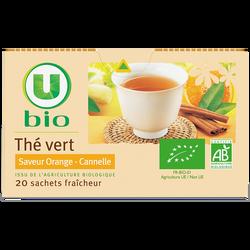 Thé vert saveur orange - cannelle U BIO, boîte de 20 sachets, 36g