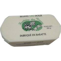 Beurre moulé cru doux 82% de mg, fontaine des veuves 250g