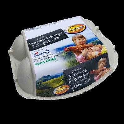 Oeufs fermiers Auvergne plein air sans OGM *6