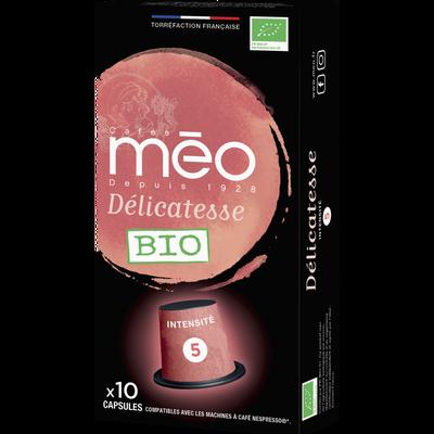 Café délicatesse MEO, étui de 10 capsules de 53g
