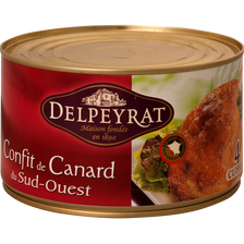 Confit de canard IGP du Sud Ouest DELPEYRAT, 4 cuisses soit 1,350kg