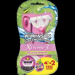Rasoir jetable 3 lames xtreme 3 beauty WILKINSON x4 + 2 gratuits