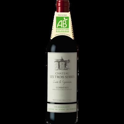 """Vin rouge AOP Corbières bio """"Château les 3 Serres"""", bouteille de 75cl"""