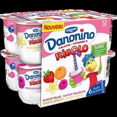Yaourt sucré aromatisé Mon yaourt Rigolo DANONINO, 12x125g