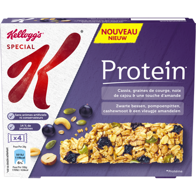 Barres protein cassis graines de courge KELLOGG'S SPECIAL K, 4 barresde 28g